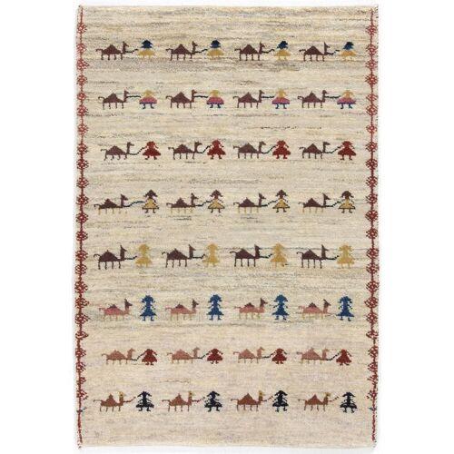 Nain Trading Handgeknüpfter Teppich Perser Gabbeh Kashkuli 121x84 Beige (Wolle, Persien/Iran)