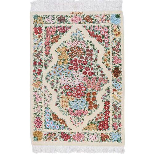 Nain Trading Perserteppich Ghom Seide 96x59 Grau/Rosa (Handgeknüpft, Persien/Iran, Seide)