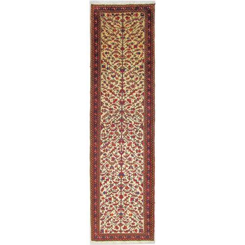 Nain Trading Handgeknüpfter Teppich Garawan 366x96 Läufer Braun/Rosa (Wolle, Persien/Iran)