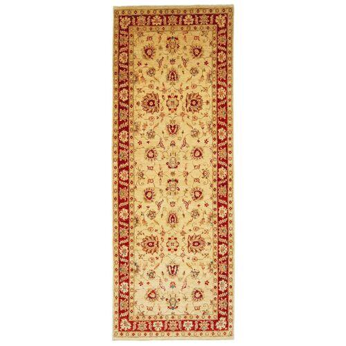 Nain Trading Handgeknüpfter Teppich Ziegler Farahan 345x127 Läufer Beige/Rosa (Wolle, Pakistan)