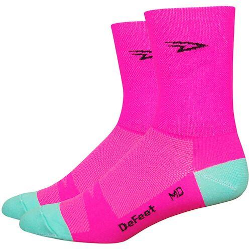 DeFeet De Feet Aireator Hi-Vis D-Logo Radsocken - L Pink/Celeste   Socken