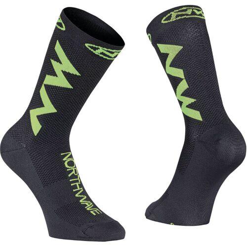 Northwave Access Extreme Air Radsocken - M  Black-Lime Fluo   Socken