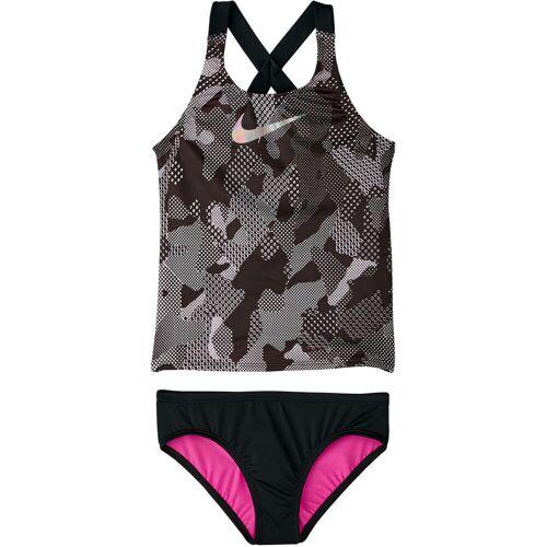 Nike Optic Camo Crossback Tankini Mädchen - L Schwarz   Tankinis