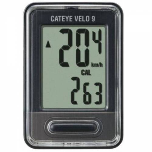 Cateye Velo 9 Fahrradcomputer mit Kabel - Grau   Radcomputer