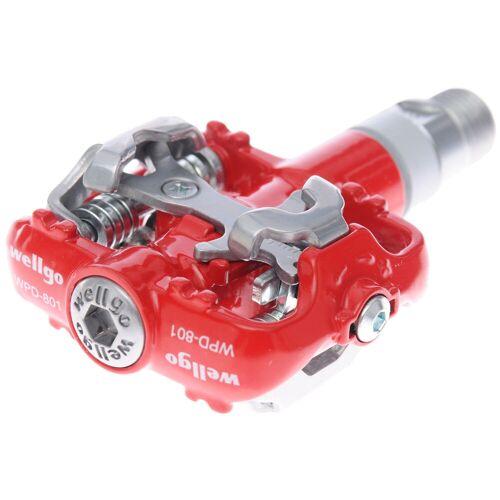 Wellgo WPD801 SPD MTB Klickpedal - Rot   Klickpedale
