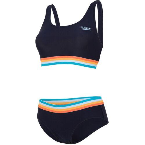 Speedo Solid U-Back Bikini - 32 True Navy/Orange Fiz   Bikinis