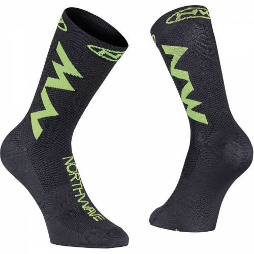 Northwave Access Extreme Air Radsocken - S  Black-Lime Fluo   Socken