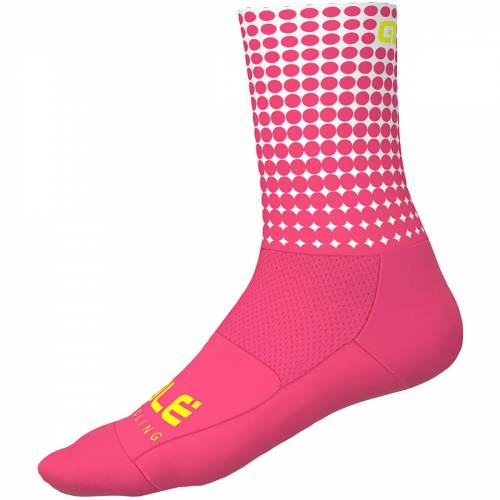 Alé Dots Sommer Radsocken - L Fluro Pink/White   Socken
