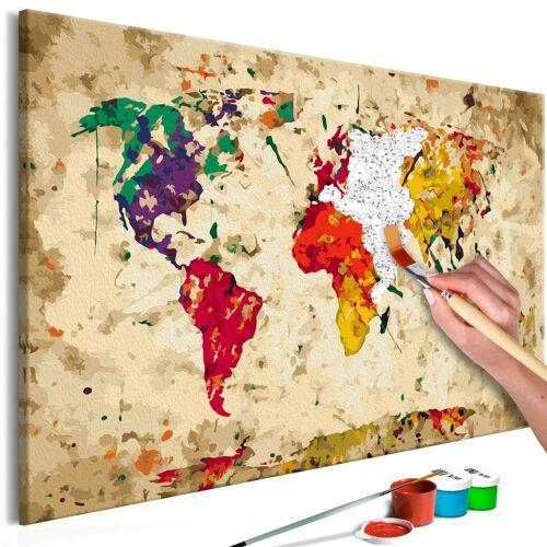 Artgeist Malen nach Zahlen - Weltkarte (Farbflecken)