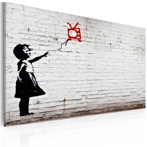 Artgeist Wandbild - Mädchen mit Fernseher (Banksy)