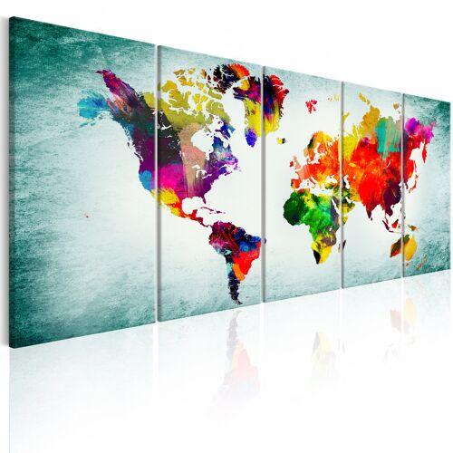 Artgeist Wandbild - World Map: Green Vignette