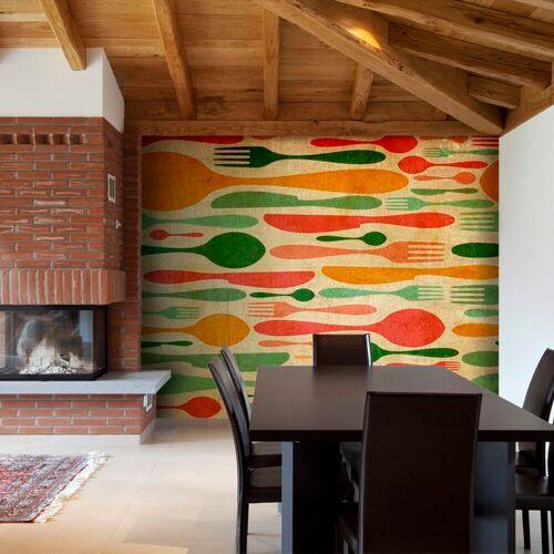 Artgeist Fototapete - Besteck - Orange und Grün