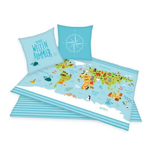 Herding Bettwäsche Weltkarte bunt