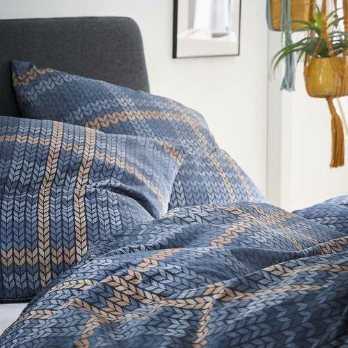 s.Oliver Feinflanell Bettwäsche 6279-640 blau nougatbraun blau nougatbraun