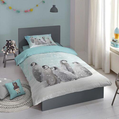 Traumschlaf Flanell Bettwäsche Pinguine blau