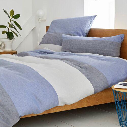 elegante Halbleinen Bettwäsche Beat blue blue