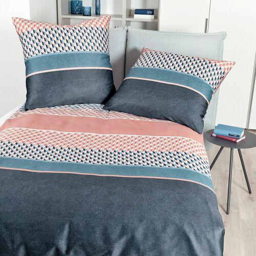 Janine Mako-Satin Bettwäsche moments 98048 vintage blau koralle vintage blau koralle