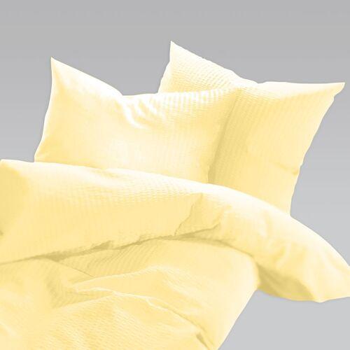 Schlafgut Uni Seersucker Bettwäsche bügelfrei zitrone zitrone