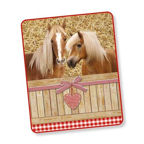 Good Morning Fleecedecke Wendeplaid Pferde braun