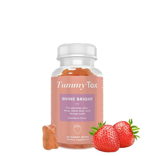 TummyTox SHINE BRIGHT - Schönheitsgummies für Haut, Haare & Nägel. Erdbeergeschmack. 60 Gummibärchen