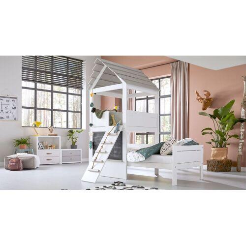 LIFETIME Kinderbett Play Tower Kinderbett 90x200 cm weiß mit Holzstruktur