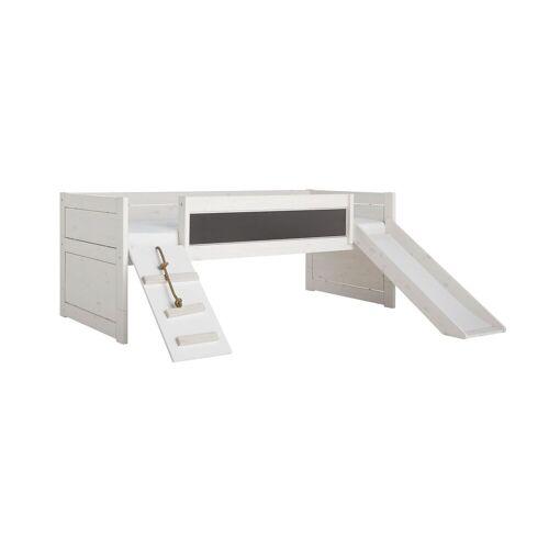 LIFETIME Kojenbett Climb & Slide Kinderbett 90x200 cm weiß mit Holzstruktur
