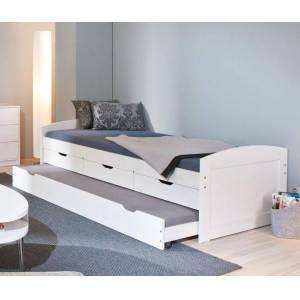 InterLink Ausziehbett Leon Bettgestell Gäste 90x200 cm weiß mit Holzstruktur