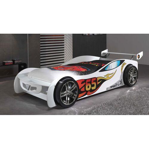 VIPACK Autobett Tuning weiß Kinderbett Auto 90x200 cm weiß