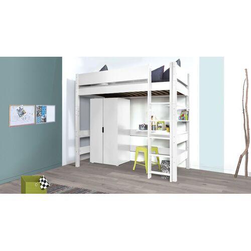 Manis-h Hochbett Kids Town Kinderbett 90x200 cm weiß