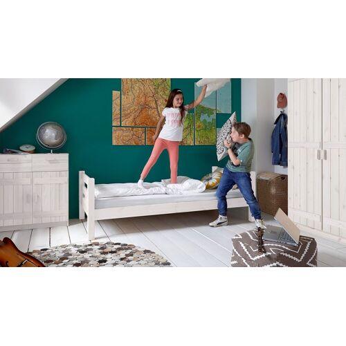 Infantil Kinderbett Kids Paradise Basic Kinderbett 90x200 cm weiß mit Holzstruktur