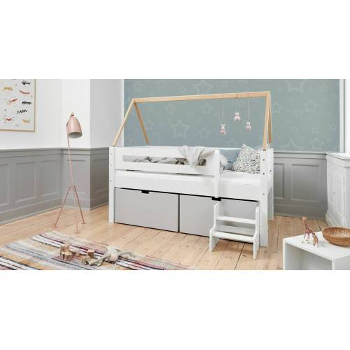 Manis-h Kojen-Hausbett Kids Town Kinderbett 90x200 cm weiß