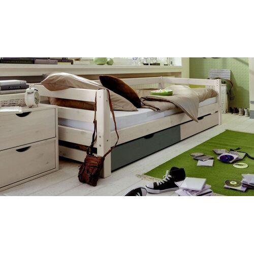 Infantil Schubkasten-Kinderbett Kids Paradise Laubhütte Kinderbett 90x200 cm weiß mit Holzstruktur