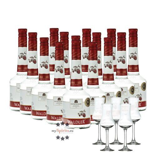 Unterthurner Privatbrennerei Unterthurner Waldler Original 15 Flaschen + 5 Schnapskelche (39 % vol., 10,5 Liter)