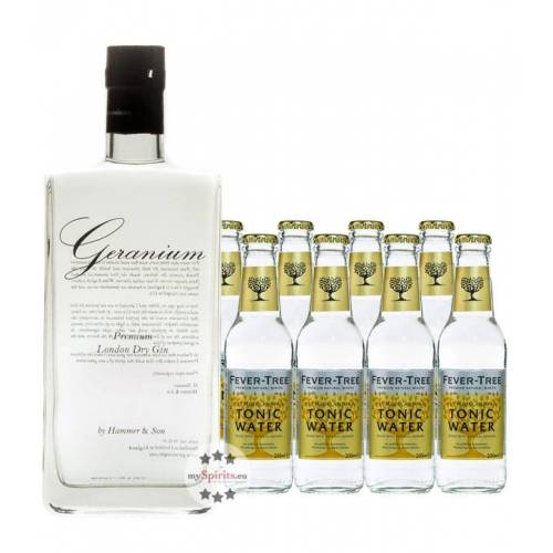 Hammer & Son Geranium London Dry Gin & 8 x Fever-Tree Indian Tonic Water (44 % Vol., 2,3 Liter)