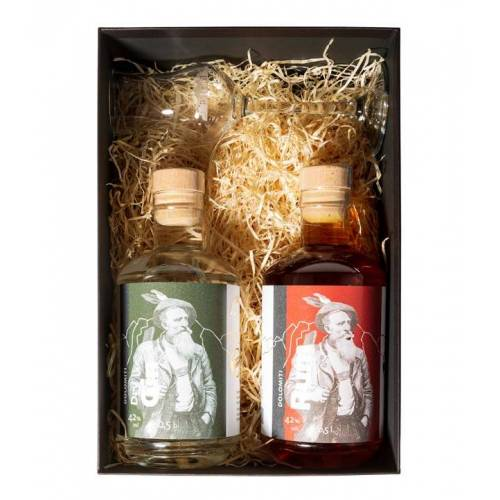 Dolomiti Alpenfeinkost Dolomiti Geschenkset Gin & Rum + 1 Glas (42 % Vol., 1,0 Liter)
