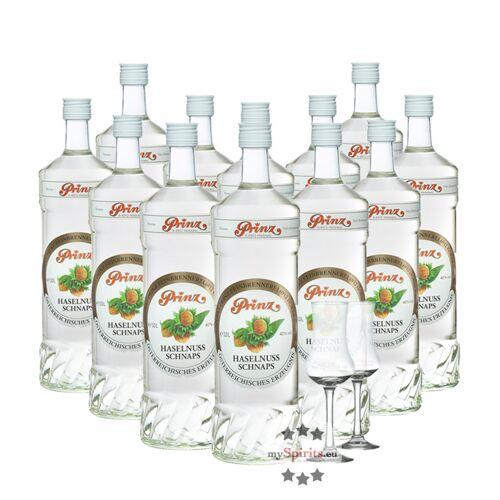Fein 12 x Prinz Haselnuss-Schnaps + 2 gratis Schnapskelche (40 % Vol., 12,0 Liter)
