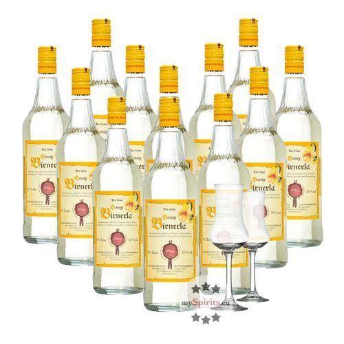 Fein 12 x Prinz Honig Birnerla + 2 gratis Schnapskelche (34 % Vol., 12,0 Liter)