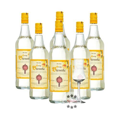 Fein 6 x Prinz Honig Birnerla + gratis Schnapskelch (34 % Vol., 6,0 Liter)