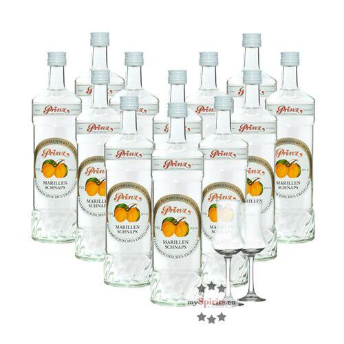 Fein 12 x Prinz Marillen-Schnaps + 2 gratis Schnapskelche (40 % Vol., 12,0 Liter)