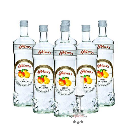 Fein 6 x Prinz Obstschnaps 40% + gratis Schnapskelch (40 % Vol., 6,0 Liter)