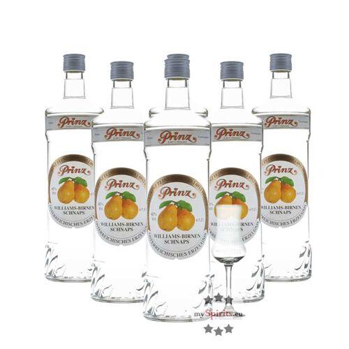 Fein 6 x Prinz Williams-Birnen Schnaps + gratis Schnapskelch (40 % Vol., 6,0 Liter)