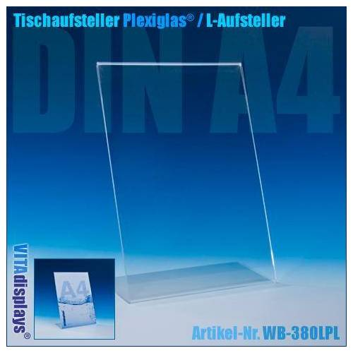 VITAdisplays® Tischaufsteller Plexiglas® DIN A4 (L-Aufsteller)