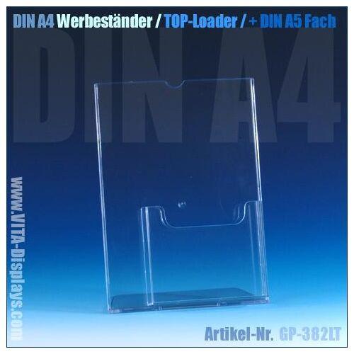 VITAdisplays® DIN A4 Aufsteller (Top-Loader) + DIN A5 Fach