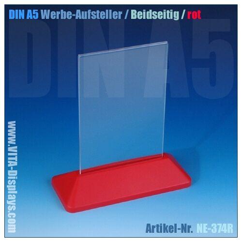 VITAdisplays® DIN A5 Werbe-Aufsteller / T-Ständer / rot