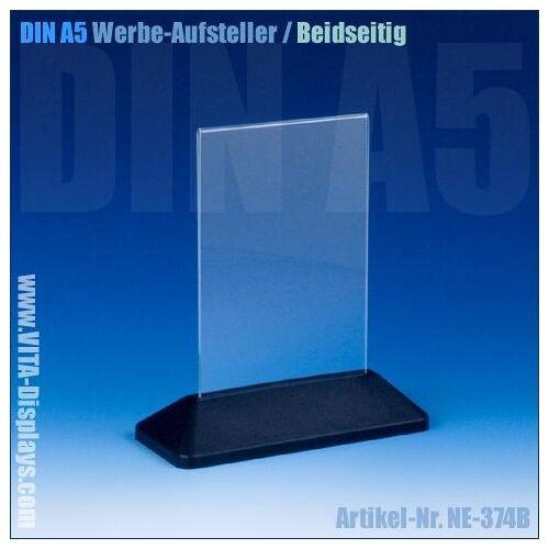 VITAdisplays® Tischaufsteller Acryl DIN A5 schwarz (T-Ständer)