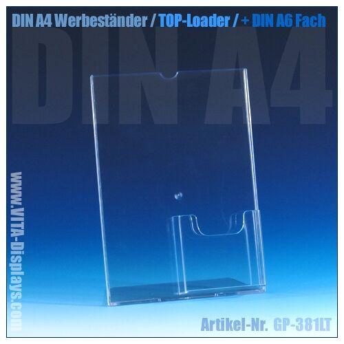 VITAdisplays® DIN A4 Aufsteller (Top-Loader) + DL / A6 Fach