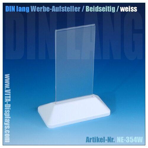 VITAdisplays® Tischaufsteller Acryl DIN lang weiß (T-Ständer)