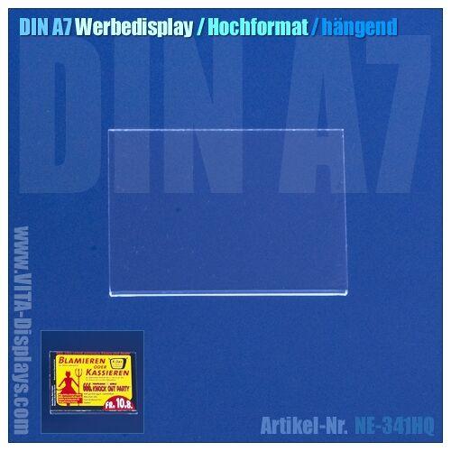 VITAdisplays® DIN A7 Werbe-Display / hängend / quer (OL)