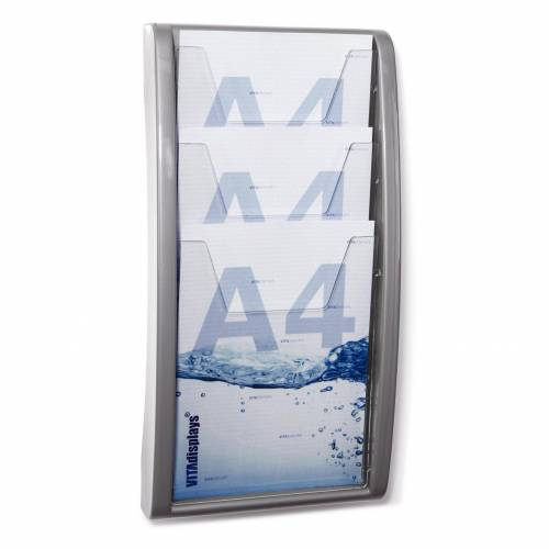 HL Displays DIN A4 Display / 3 Etg. / Wandmontage (Grau)