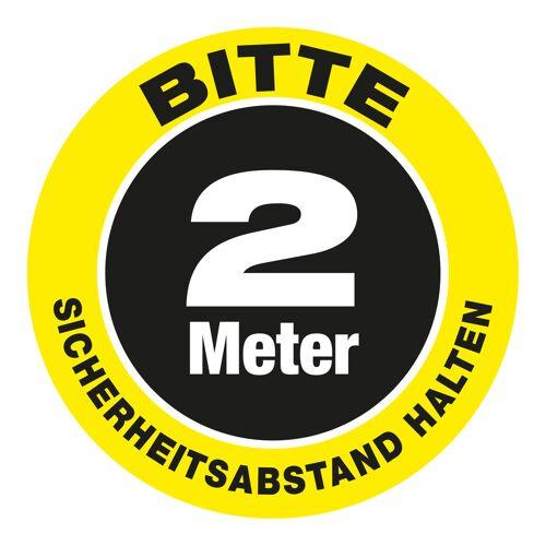 """VITAdisplays® Bodenschild als Wartepunkt """"Bitte 2.0 Meter Sicherheitsabstand halten"""" (30 x 30 cm) gelb"""